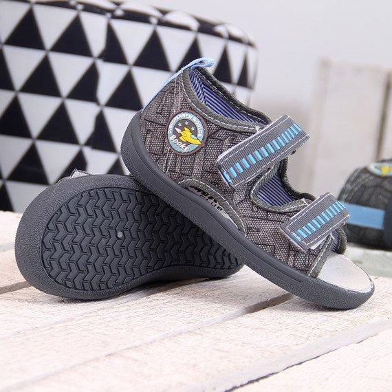 Sandałki dziecięce na rzepy szare American Club