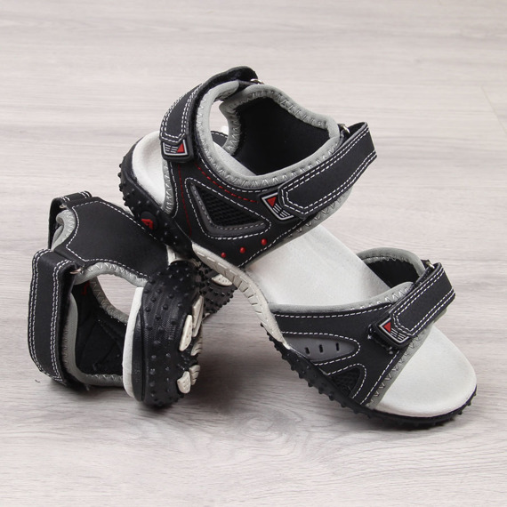 Sandały chłopięce na rzep czarne American Club