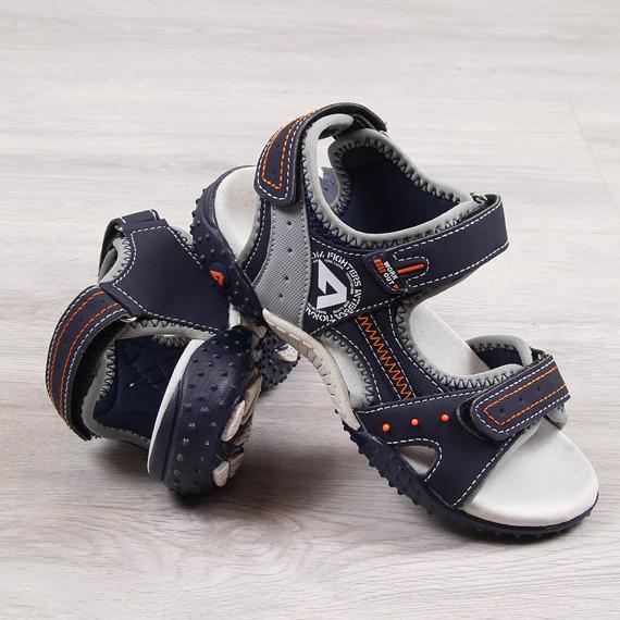 Sandały chłopięce na rzep granatowe American Club