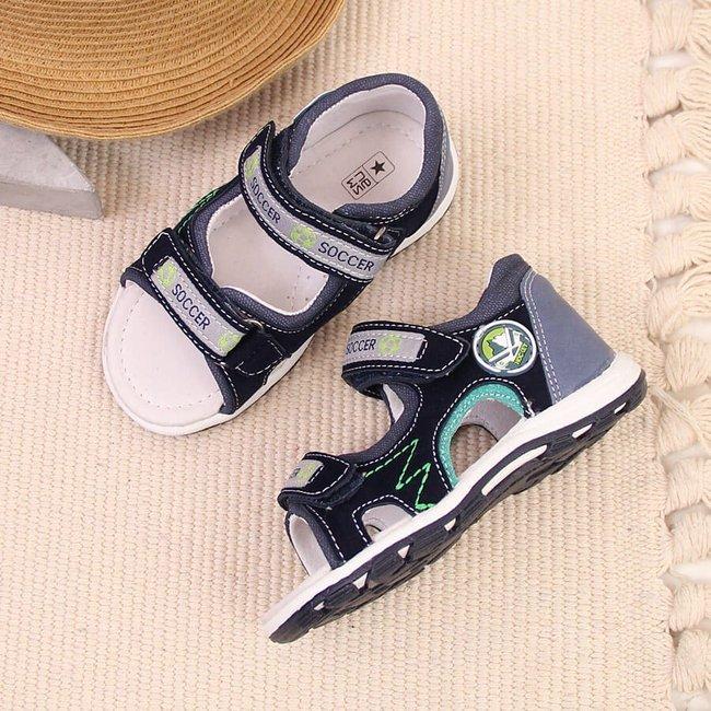 Sandały chłopięce sportowe na rzep granatowe NEWS