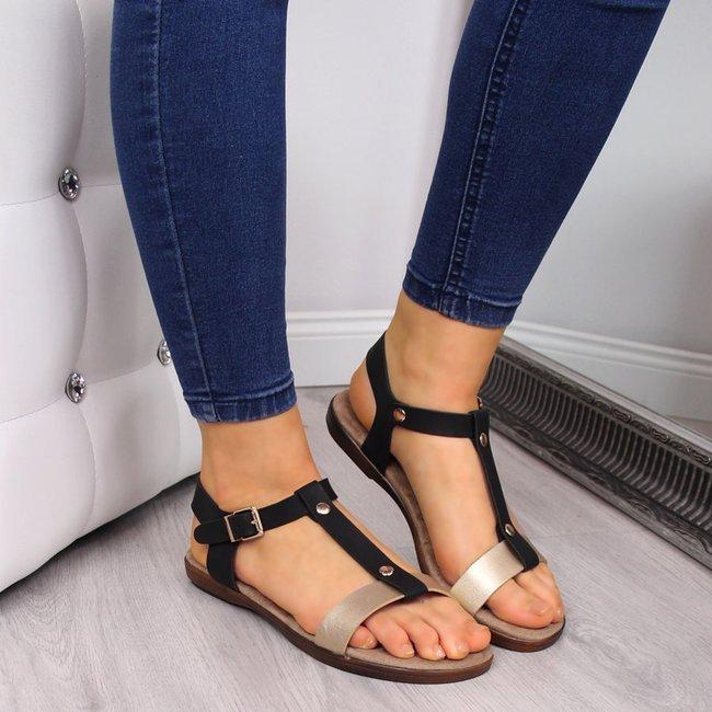 Sandały damskie czarno złote eVento