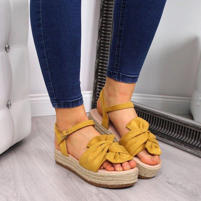 Sandały damskie espadryle na platformie żółte T.Sokolski