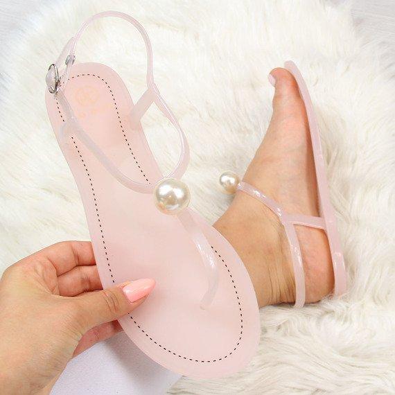 Sandały damskie japonki z perłą pudrowy róż Lu Boo