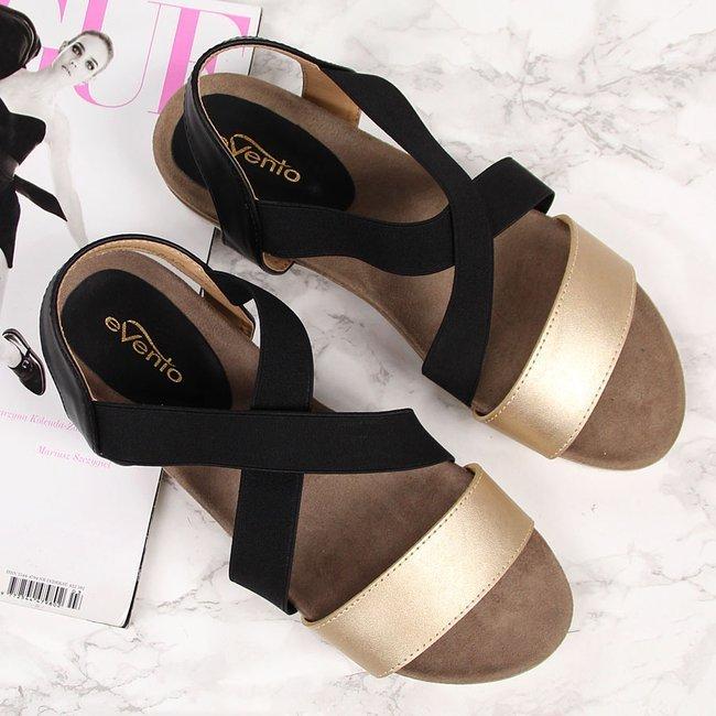 Sandały damskie na gumkę czarne eVento