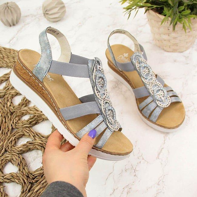 Sandały damskie na gumki niebieskie Rieker V38H8