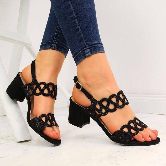 Sandały damskie na klocku z cyrkoniami czarne Filippo