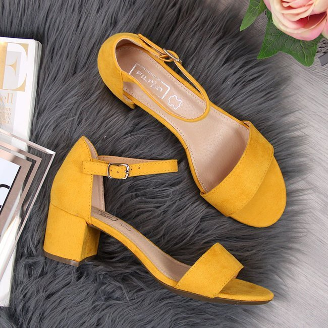 Sandały damskie na klocku żółte Filippo