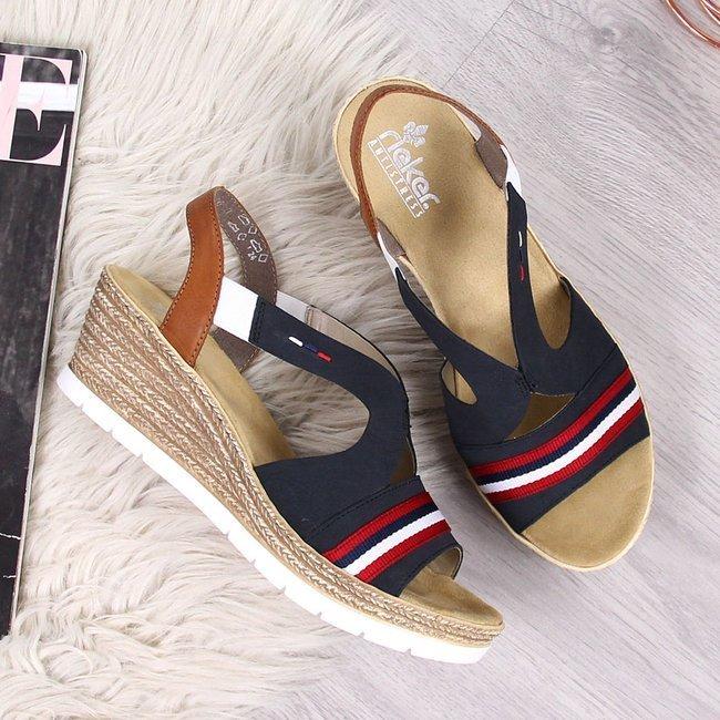 Sandały damskie na koturnie granatowe Rieker 619S6