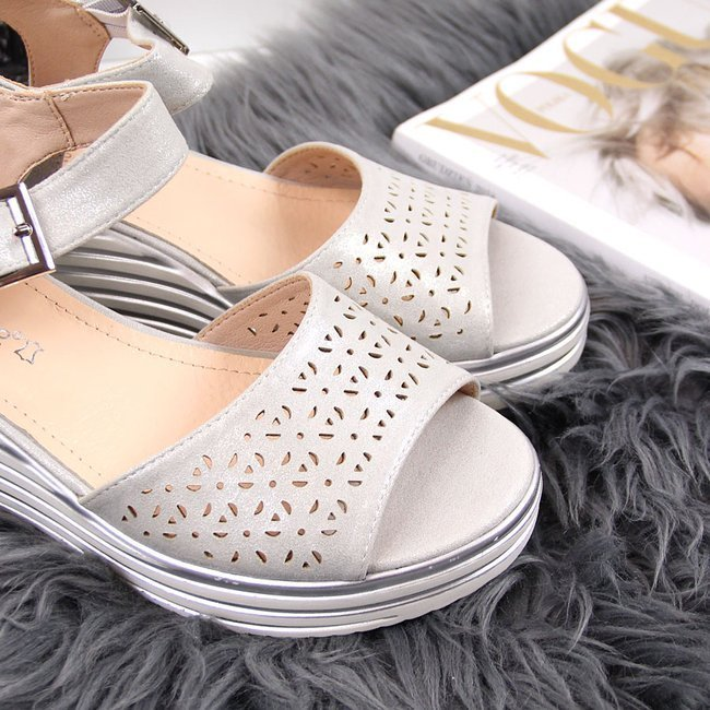 Sandały damskie na koturnie srebrne Sergio Leone