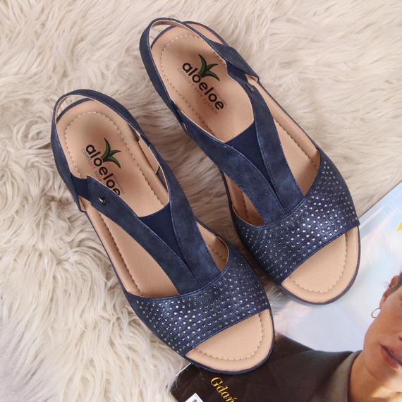 Sandały damskie na koturnie z cyrkoniami granatowe Aloeloe