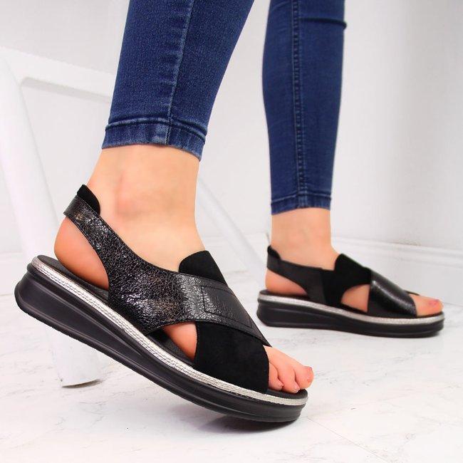 Sandały damskie na platformie czarne Sergio Leone