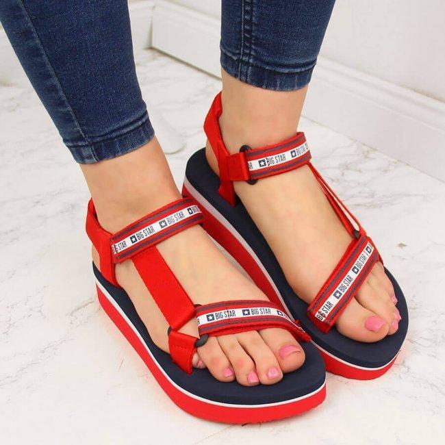 Sandały damskie na platformie czerwone Big Star HH274A102