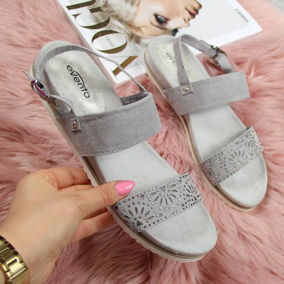 Sandały damskie na platformie szare eVento