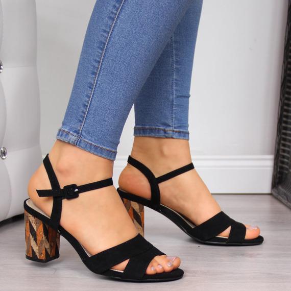 Sandały damskie na słupku czarne Filippo