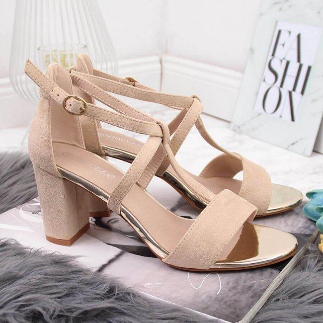 Sandały damskie na słupku rzymianki beżowe Vinceza
