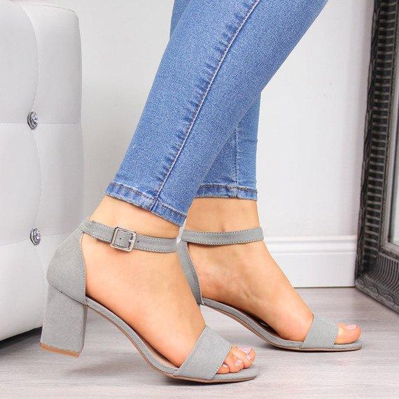 Sandały damskie na słupku szare Vinceza