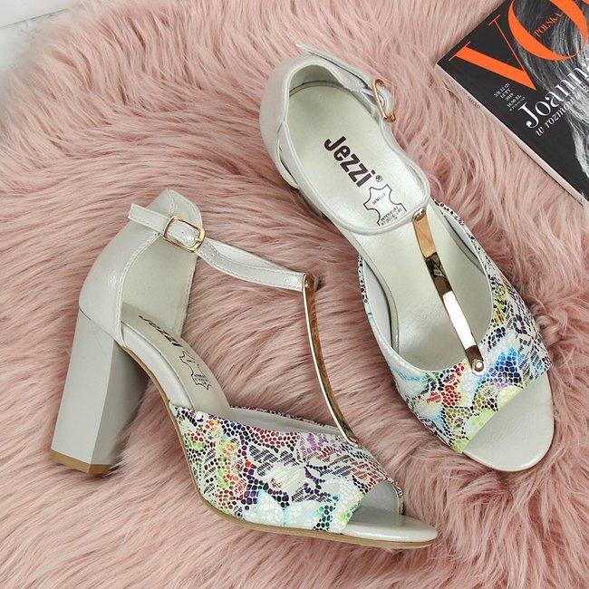 Sandały damskie na słupku w kwiaty szare Jezzi
