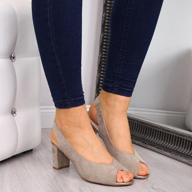 Sandały damskie na słupku zamszowe taupe eVento