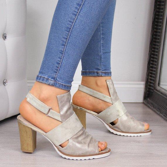 Sandały damskie na słupku złote Jezzi