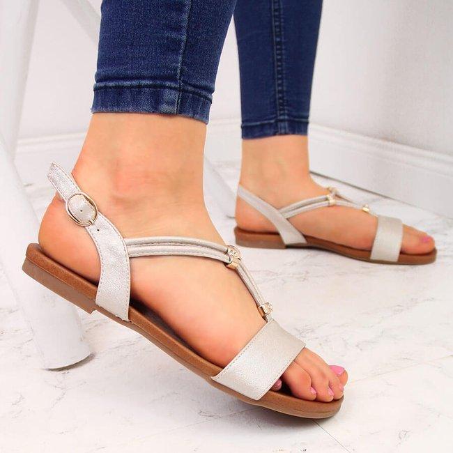 Sandały damskie regulowane paski beżowe S.Barski