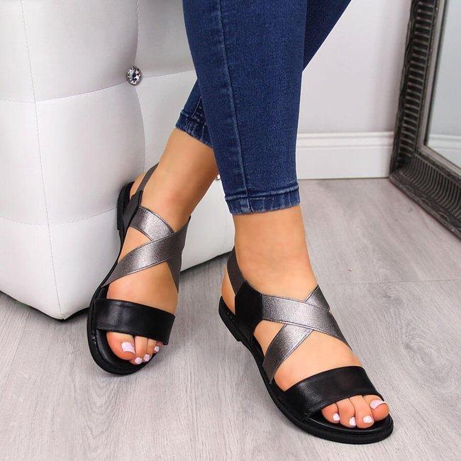Sandały damskie rzymianki na gumy czarny Jezzi