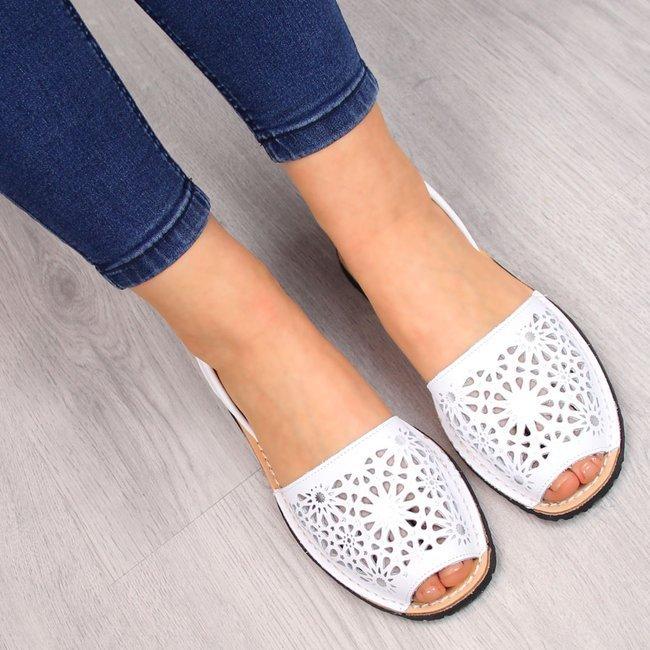 Sandały damskie skórzane ażurowe białe El Pimpi