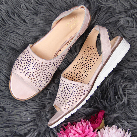 Sandały damskie skórzane ażurowe różowe Juma 2655