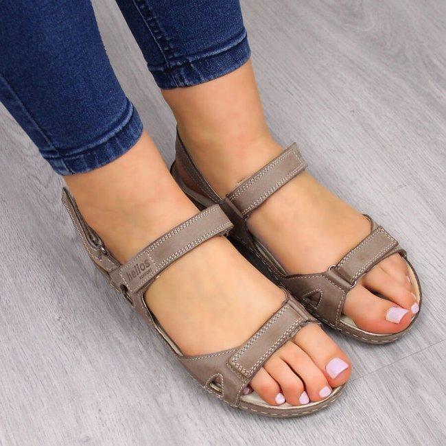 Sandały damskie skórzane komfortowe beżowe Helios 205