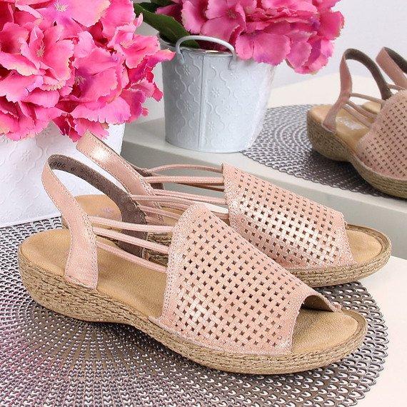Sandały damskie skórzane komfortowe różowe Rieker 65845-31