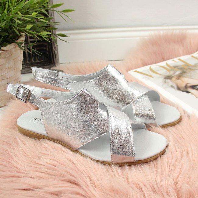 Sandały damskie skórzane metaliczne srebrne Juma 2650