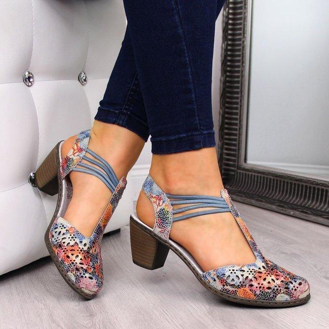 Sandały damskie skórzane na gumki Rieker 40969