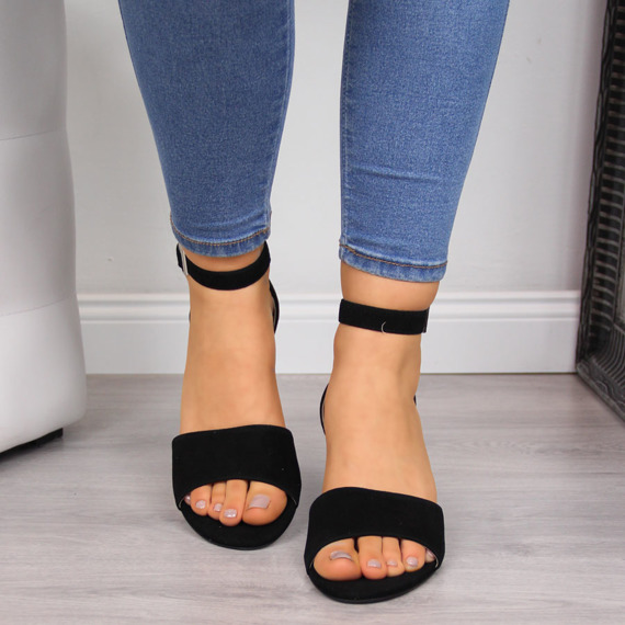 Sandały damskie skórzane na klocku czarne Juma 2660