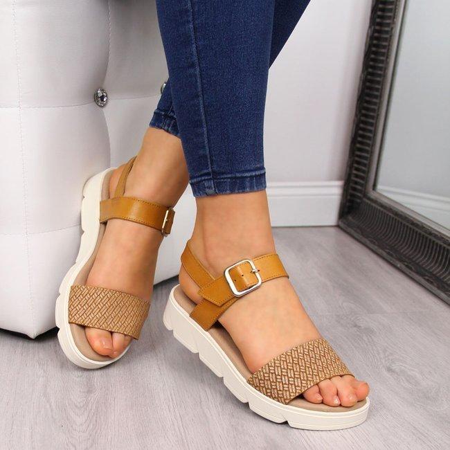 Sandały damskie skórzane na platformie żółte El Pimpi