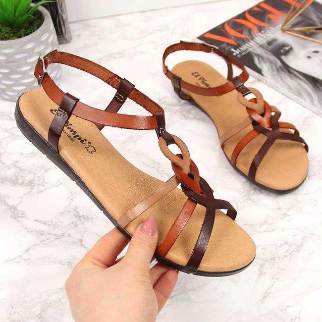 Sandały damskie skórzane rzymianki brązowe El Pimpi