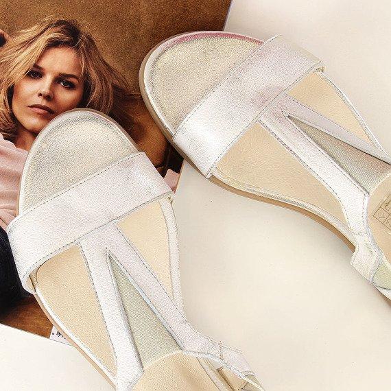 Sandały damskie skórzane złote Juma