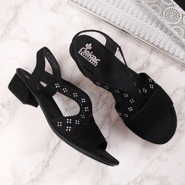 Sandały damskie z cyrkoniami czarne Rieker V6216