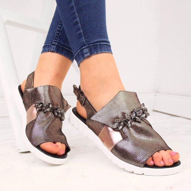 Sandały damskie z kamieniami złote Jezzi
