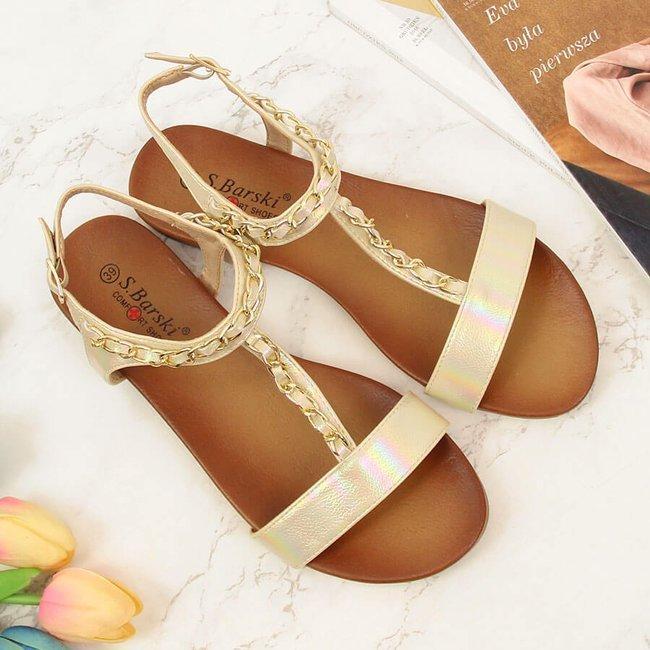 Sandały damskie z łańcuszkiem holo beżowe S.Barski