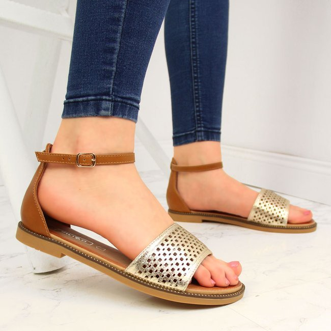 Sandały damskie z nitami brązowo złote Filippo