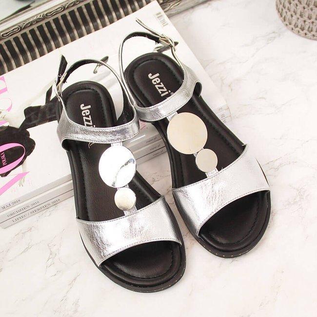 Sandały damskie z ozdobą srebrne Jezzi