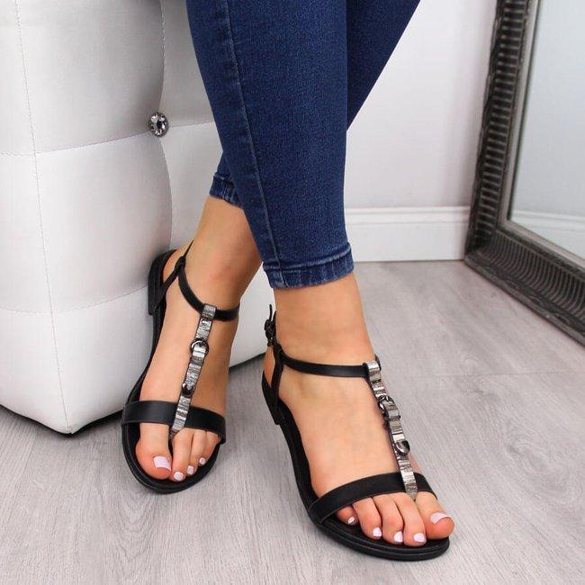 Sandały damskie z ozdobną klamrą czarne Vinceza