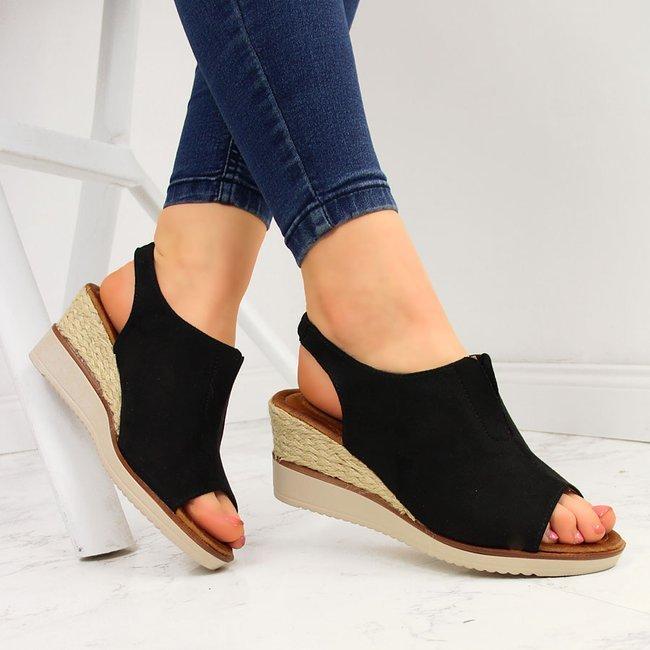 Sandały damskie zabudowane espadryle czarne Jezzi