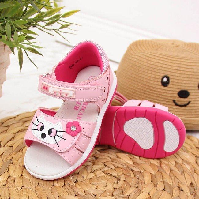 Sandały dziewczęce na rzepy z kotkiem American Club