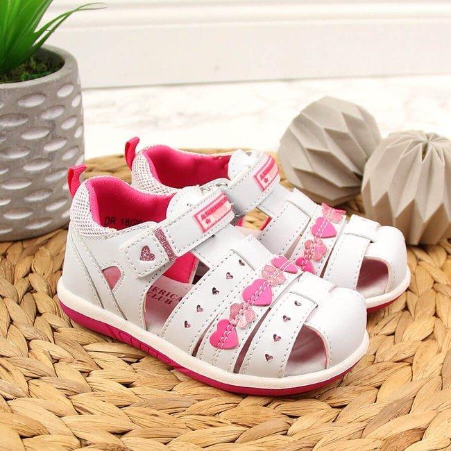 Sandały dziewczęce zabudowane na rzep białe American Club