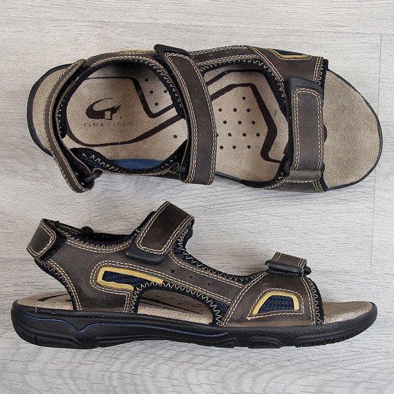 Sandały męskie skórzane brązowe Gregor