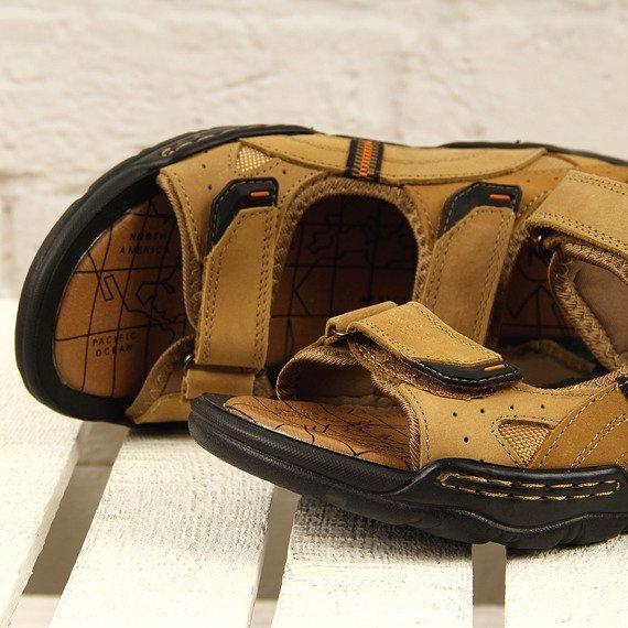 Sandały męskie skórzane camel McKeylor