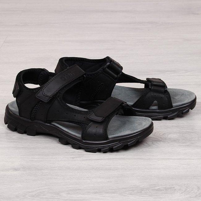 Sandały męskie skórzane na rzep czarne NEWS