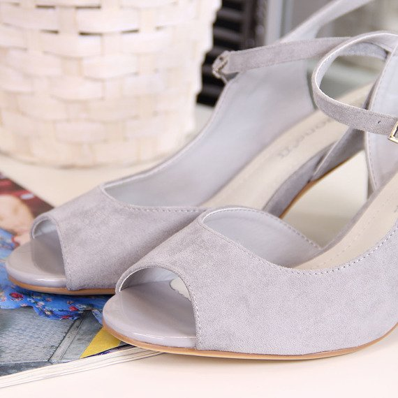 Sandały na słupku szare Sergio Leone