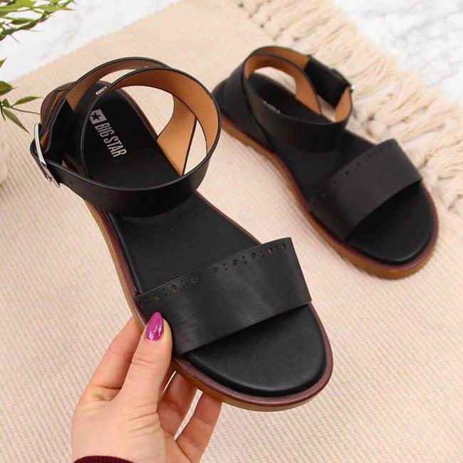 Sandały skórzane damskie czarne Big Star HH274720