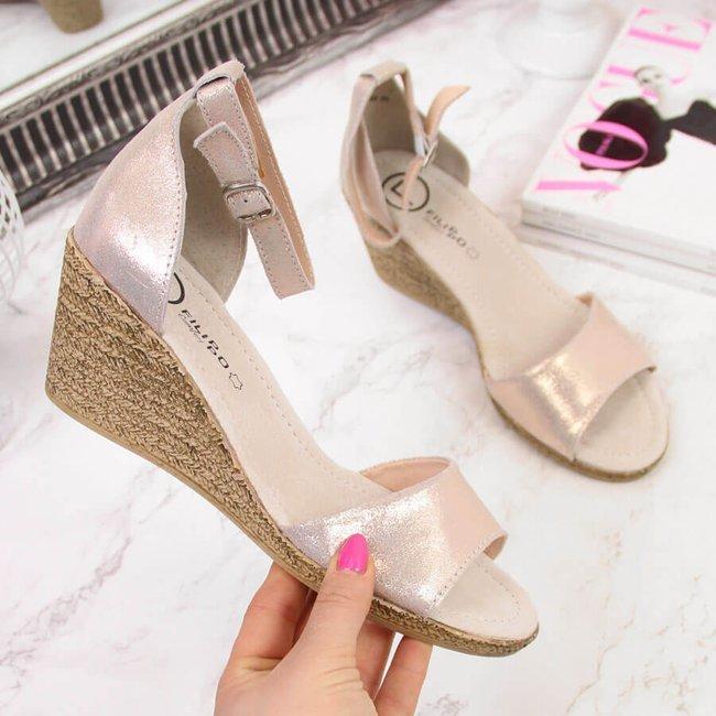 Sandały skórzane damskie na koturnie złote Filippo